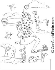 Pet sitter coloring page - Black outline of a girl...