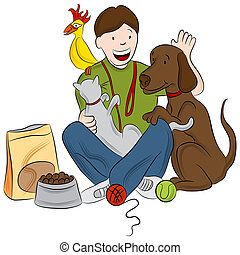 Pet Sitter - An image of a pet sitter playing with a cat,...