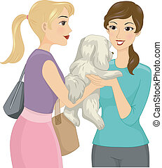 Pet Sitting - Illustration of a Female Pet Sitter Accepting...