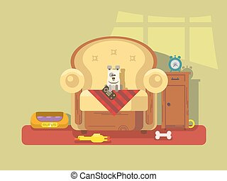 Pet sitting in chair. Armchair sitting dog, bone and friend,...