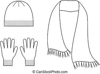 pet, sjaal, handschoenen