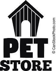 Pet store dog house logo, simple style