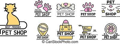 Pet store icons set line color vector