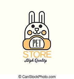 Pet store logo template design, brown badge for company identity, label for pet shop, quality service and useful food vector Illustration on a white background