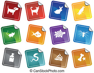 Pet Store Sticker Icon Set isolated on a white background.