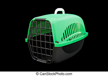 Pet supplies about Pet carrier for traveling with a pet on isolated black