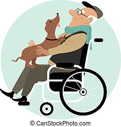 An elderly man in a wheelchair with a friendly dog on his laps, EPS 8 vector illustration, no transparencies