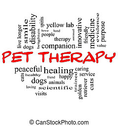 Pet Therapy Word Cloud Concept in red and black letters with...