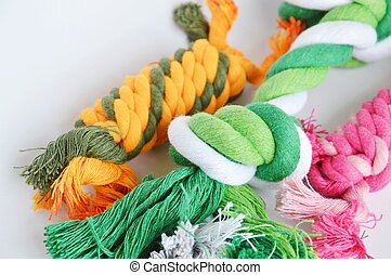 pet toy colorful fabric rope on white background