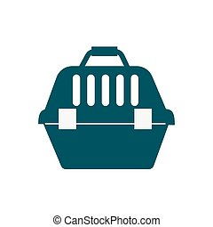 Pet travel plastic carrier isolated kitten or dog travel safety carrying container vector illustration.