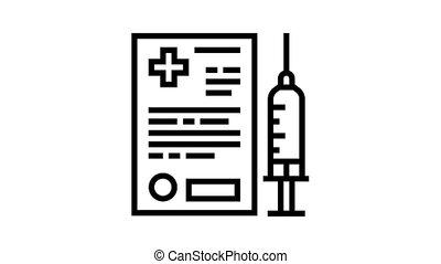 pet vaccination document animated black icon. pet vaccination document sign. isolated on white background