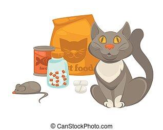 Pet vet veterinary cat food and treatment pills vector flat icon
