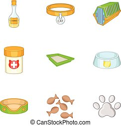 Pet veterinary clinic icons set, cartoon style