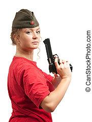 pet, vrouw, garnizoen, geweer