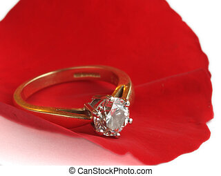 Petal and diamond ring