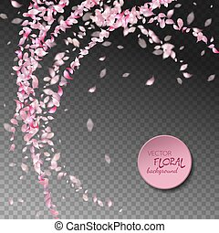 Petals Flying Background - Vector pink flying petals with...