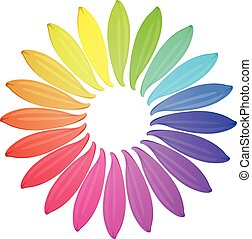 Illustration of different color petals