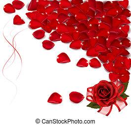 petals., roter hintergrund, rose
