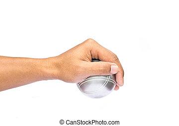 petanque ボール, 手, 背景, 白, 人
