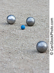 Petanque balls on the field in France