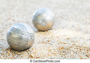 petanque balls on the field with nobody.