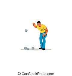Petanque game sign. Vector Illustration.