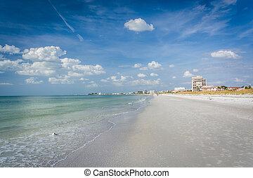 pete, tengerpart, öböl, florida., szt., mexikó, tengerpart