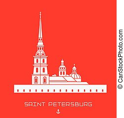 Peter and Paul Cathedral - Saint Petersburg architectural monument. Simple line drawn shape.