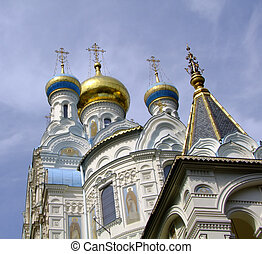 Detail of orthodox church St. Peter and Paul in Carlsbad - Czech Republic