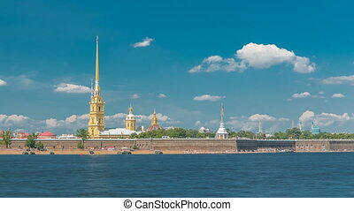 Peter and Paul Fortress across the Neva river timelapse, St. Petersburg, Russia