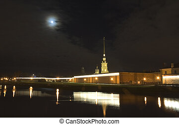 Peter and Paul fortress at night, Saint Petersburg, Russia