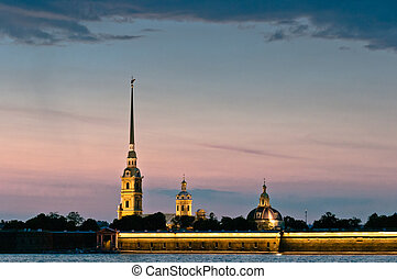 Peter and Paul fortress at twilight