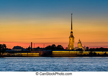 Peter and Paul Fortress before sunrise at Saint Petersburg, Russia