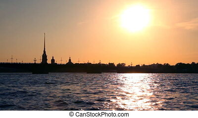 Peter and Paul Fortress during sunset, St. Petersburg,...