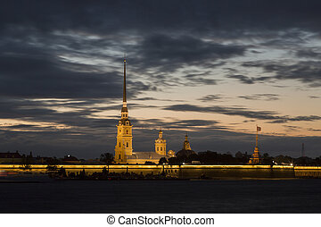 Peter and Paul fortress in sunset, Saint-Petersburg, Russia
