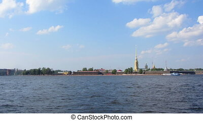 Peter and Paul fortress on Neva river in st. Petersburg - timelapse