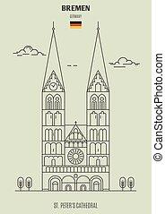 peter, catedral, germany., señal, bremen, icono, s.