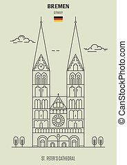 peter, cathédrale, germany., repère, bremen, icône, rue.