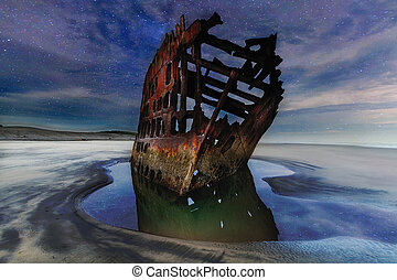 Peter Iredale Shipwreck Under Starry Night Sky