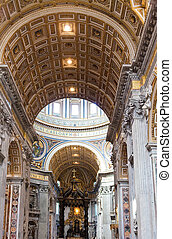 peter, italy., rome., c/, interior, vatican., basilica.,...