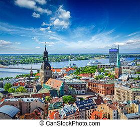 peter, riga, centro, s., riga, letonia, iglesia, vista aérea