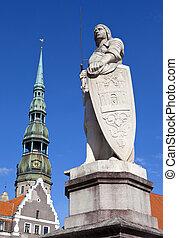 peter, s., riga, roland, estatua, iglesia