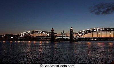 Peter the Great Bridge in White Nights, St. Petersburg,...