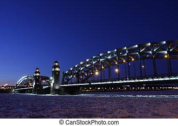 Peter the Great bridge of St. Petersburg - Russia. St. ...