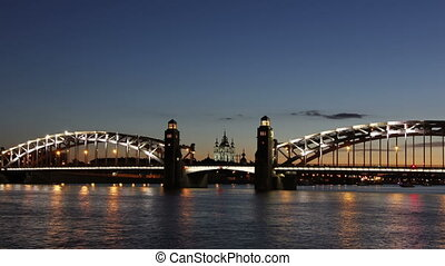Peter the Great Bridge (timelapse) - General view, Peter the...