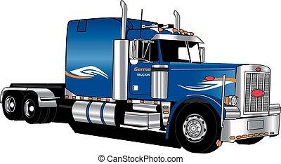 Older peterbilt tractor, vector, shaded, chrome, blue, semi
