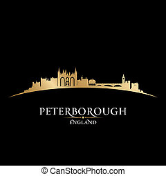 peterborough, イギリス\, 都市 スカイライン, シルエット, 黒い背景