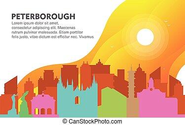 Peterborough City Building Cityscape Skyline Dynamic Background Illustration