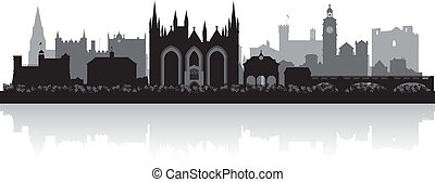 Peterborough city skyline silhouette