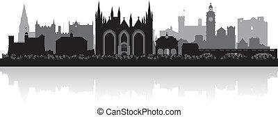 Peterborough city skyline silhouette